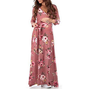 Maternity Flowers Print Full Length Dress With Adjustable Belt
