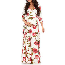 Load image into Gallery viewer, Maternity Flowers Print Full Length Dress With Adjustable Belt