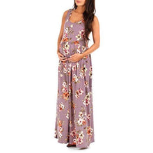 Load image into Gallery viewer, Maternity Sleeveless Flowers Print Ruched Maxi Dress