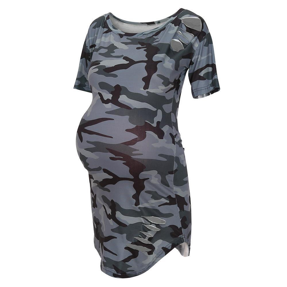 One Shoulder  Asymmetric Hem  Camouflage  Short Sleeve Casual Dresses