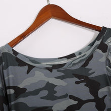 Load image into Gallery viewer, One Shoulder  Asymmetric Hem  Camouflage  Short Sleeve Casual Dresses