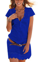 Load image into Gallery viewer, V Neck  Hollow Out Plain  Short Sleeve Casual Dresses