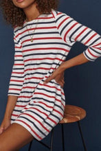 Load image into Gallery viewer, Round Neck  Striped  Long Sleeve Casual Dresses