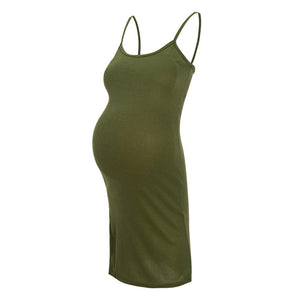 Sexy Pure Color Split Strap Work Dress