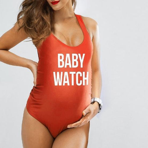 Maternity Letter Print One Piece Swimsuit