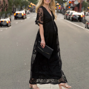 Maternity Lace Mesh Overlay Maxi Dress