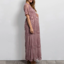 Load image into Gallery viewer, Maternity Lace Mesh Overlay Maxi Dress