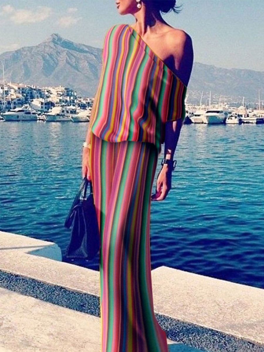 One Shoulder Stripes Plain Maxi Dresses