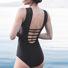 Load image into Gallery viewer, Black Mesh One-Piece Swimsuit
