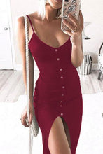 Load image into Gallery viewer, Spaghetti Strap  High Slit Single Breasted  Plain  Sleeveless Maxi Dresses