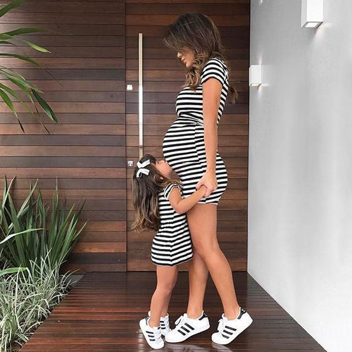 Mom Girl Stripes Matching Dress