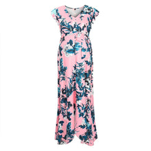 Load image into Gallery viewer, Maternity Floral Print Surplice Wrap Maxi Dress