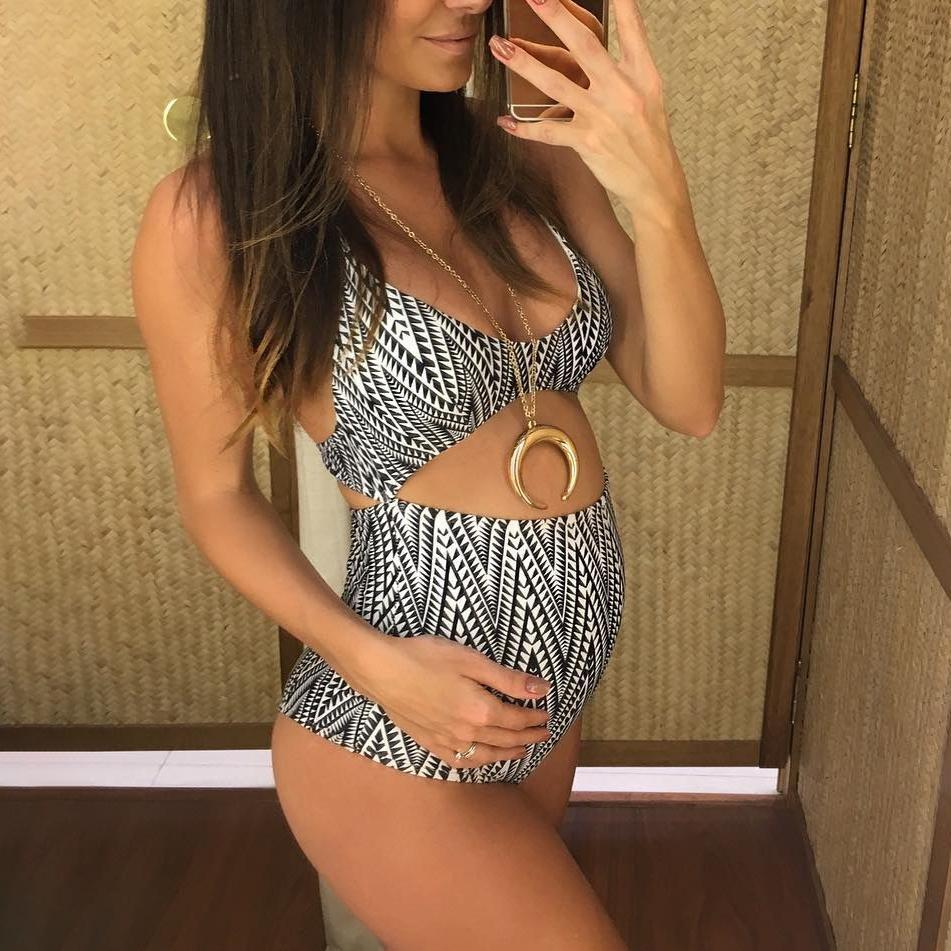 Maternity Geometry Print Swimwear