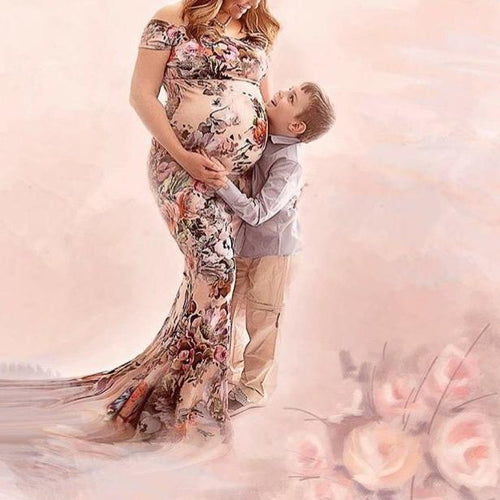Maternity Floral Print Off Shoulder Floor-Length Dress