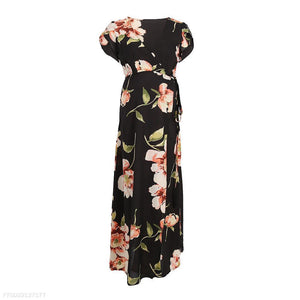 Fashion Deep V Collar Floral Printed Maxi Dress