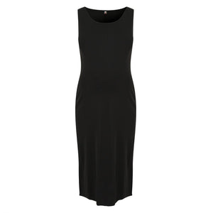 Black Sleeveless Maternity Knot Dress