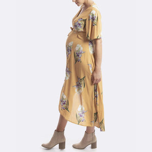 Maternity & Nursing Wrap Yellow Floral Print Dress