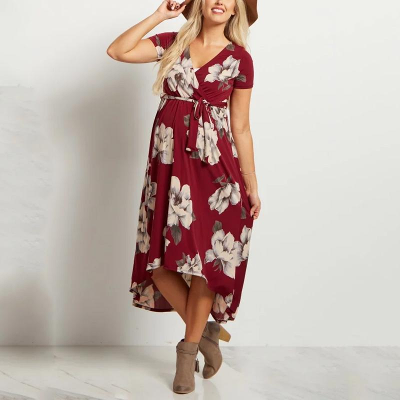 Burgundy Floral Hi-Low Midi Maternity/Nursing Wrap Dress