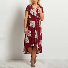 Load image into Gallery viewer, Burgundy Floral Hi-Low Midi Maternity/Nursing Wrap Dress