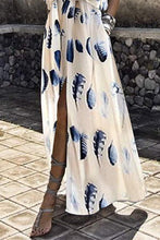Load image into Gallery viewer, V-Neck Elastic Waist Floral Print Plain Maxi Dress