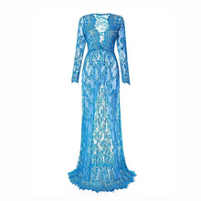 Load image into Gallery viewer, Maternity Deep V-Neck Hollow Out Lace  Floor-Length Dress