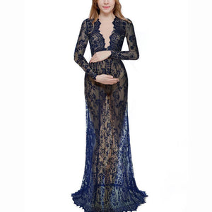 Maternity Deep V-Neck Hollow Out Lace  Floor-Length Dress