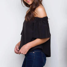 Load image into Gallery viewer, Maternity Solid Black Short Sleeve Tops