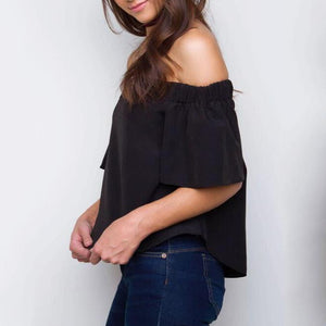 Maternity Solid Black Short Sleeve Tops
