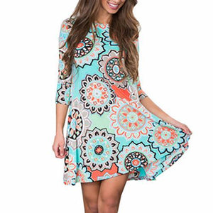 Women Floral Round Neck Dress