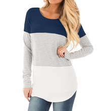 Load image into Gallery viewer, Maternity Striped Splicing Long-Sleeved Nursing Blouse