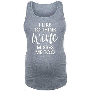Maternity Letter Print Gray Tank Top