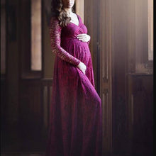 Load image into Gallery viewer, Maternity Solid Round Neck Full Length Dress