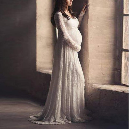 Maternity Solid Round Neck Full Length Dress