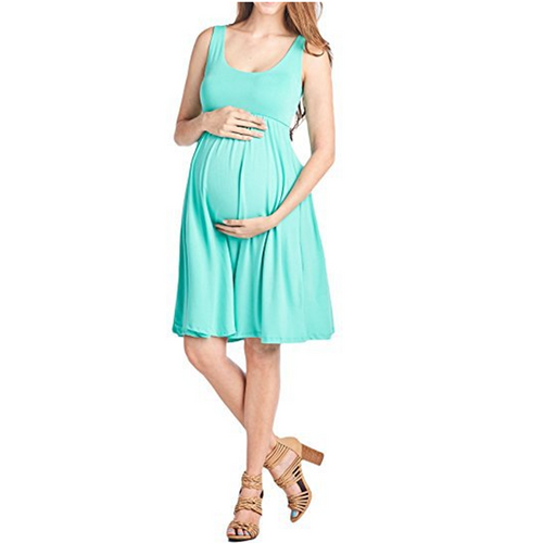 Sleeveless Round Neck Maternity Maxi Dress
