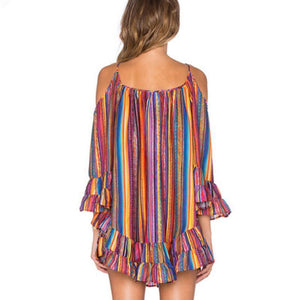 Rainbow Print Stripe Off-The-Shoulder Ruffle Hem  Beach Dress