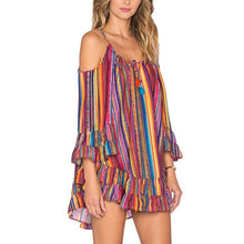 Load image into Gallery viewer, Rainbow Print Stripe Off-The-Shoulder Ruffle Hem  Beach Dress