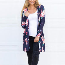 Load image into Gallery viewer, Floral Printed Drape Cardigan Trendy Casual Long Sleeve Top
