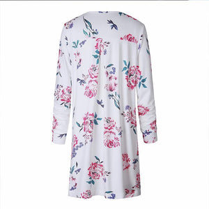 Floral Printed Drape Cardigan Trendy Casual Long Sleeve Top