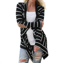 Load image into Gallery viewer, Collarless  Striped  Long Sleeve Cardigans