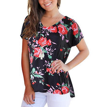 Load image into Gallery viewer, Maternity Floral Print V-Neck T-Shirt