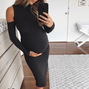 Maternity Cold Shoulder Long Sleeve Bodycon Dress