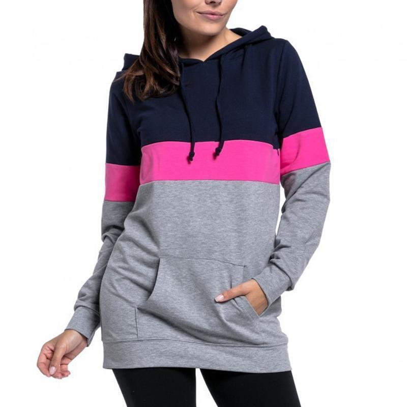 Multi-Function Polychromatic Splicing Long Sleeves Lactation Hoodie