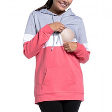 Load image into Gallery viewer, Multi-Function Polychromatic Splicing Long Sleeves Lactation Hoodie