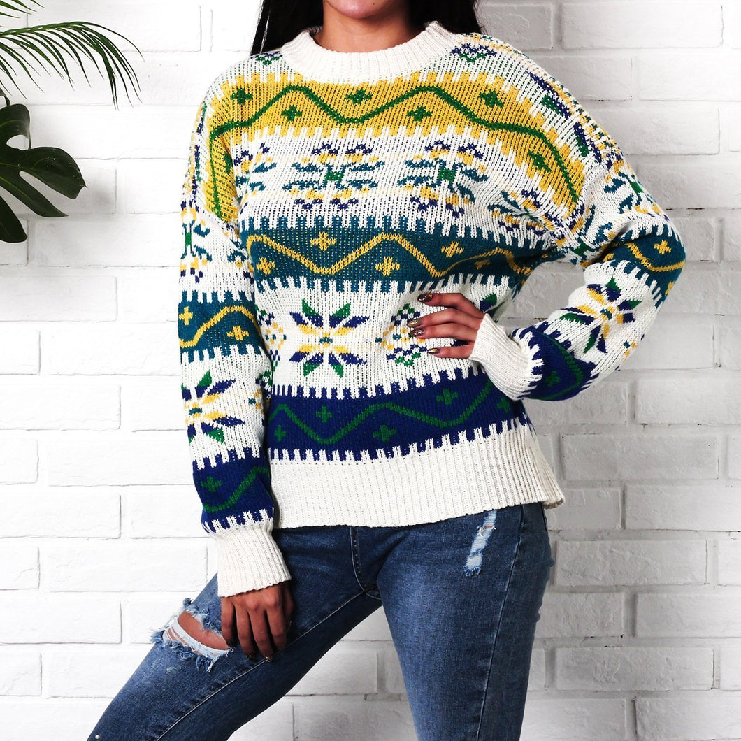 Snowflake Christmas Casual Long Sleeve Sweater