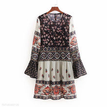 Load image into Gallery viewer, Pagoda Sleeve Embroidery Splicing Maternity Dress