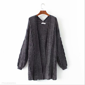 Maternity Solid Color Twist Knitted  Coat