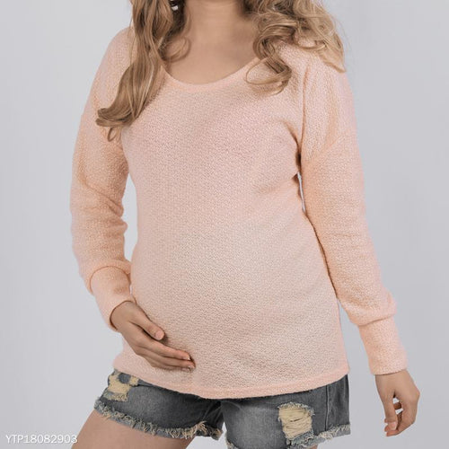 Maternity Round Neck Knitted Pullover