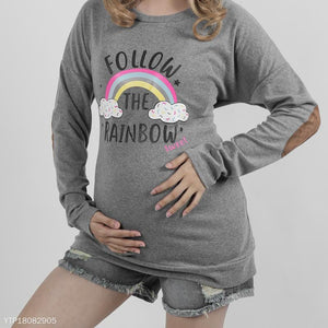 Maternity Rainbow Printed Long Sleeved Patch Collage Pullover