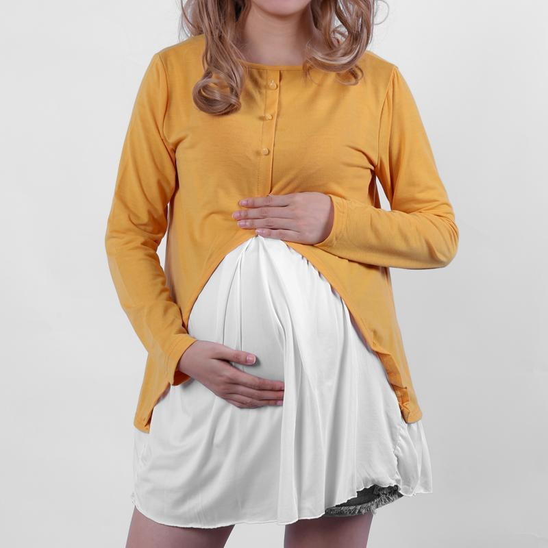 Maternity Fake-Two-Piece Flounced Back Patchwork Tee