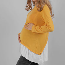 Load image into Gallery viewer, Maternity Fake-Two-Piece Flounced Back Patchwork Tee